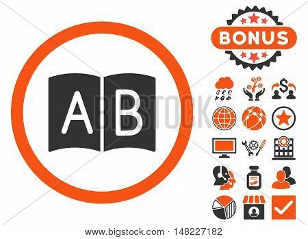 Handbook icon with bonus pictogram. Vector illustration style is flat iconic bicolor symbols, orange and gray colors, white background.