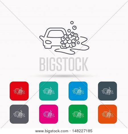 Car wash icon. Cleaning station sign. Foam bubbles symbol. Linear icons in squares on white background. Flat web symbols. Vector