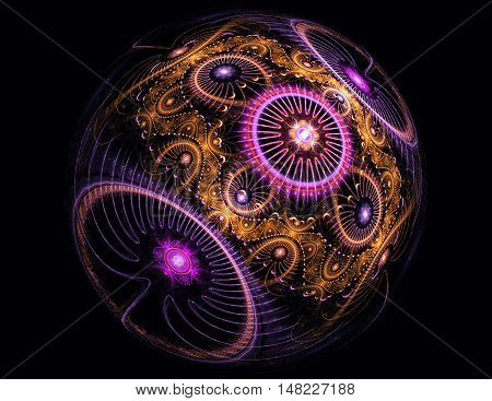 Computer-generated image of abstract fractal colorful ball