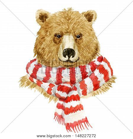 Beautiful watercolor brown bear wearing a red and white scarf