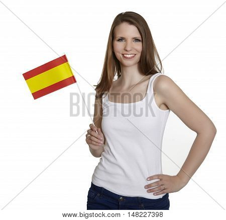 Attractive woman shows flag of spain and smiles in front of white background