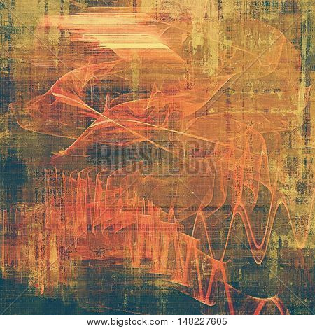 Abstract scratched background or frame with weathered grunge texture. Ancient style backdrop with different color patterns: yellow (beige); brown; green; red (orange); pink