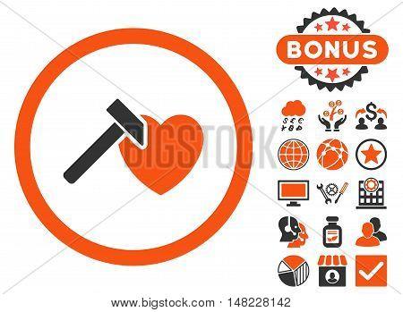Heart Hammer icon with bonus symbols. Vector illustration style is flat iconic bicolor symbols, orange and gray colors, white background.