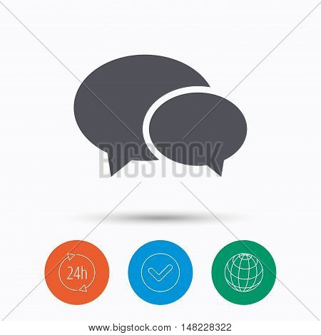 Chat icon. Speech bubble symbol. Check tick, 24 hours service and internet globe. Linear icons on white background. Vector