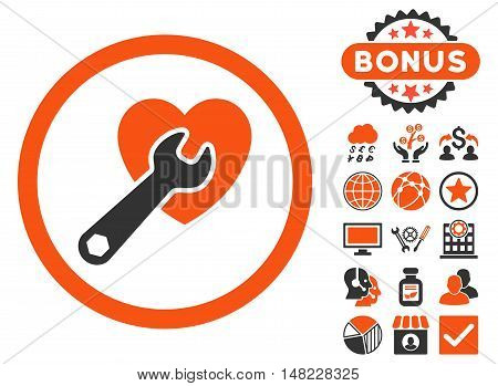 Heart Surgery icon with bonus pictures. Vector illustration style is flat iconic bicolor symbols, orange and gray colors, white background.