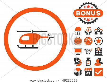 Helicopter icon with bonus pictures. Vector illustration style is flat iconic bicolor symbols, orange and gray colors, white background.