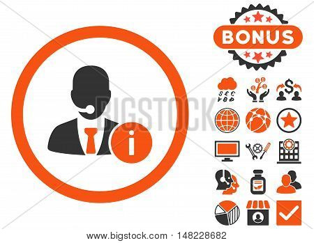 Help Desk icon with bonus design elements. Vector illustration style is flat iconic bicolor symbols, orange and gray colors, white background.