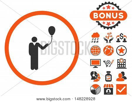 Holiday icon with bonus symbols. Vector illustration style is flat iconic bicolor symbols, orange and gray colors, white background.