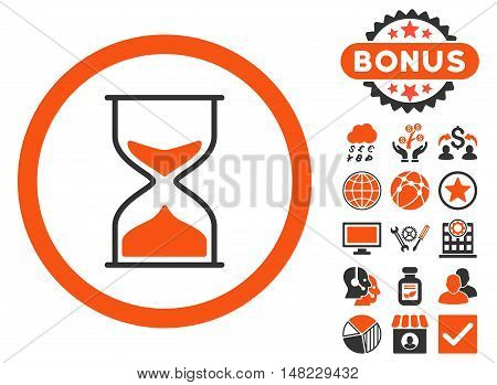 Hourglass icon with bonus symbols. Vector illustration style is flat iconic bicolor symbols, orange and gray colors, white background.