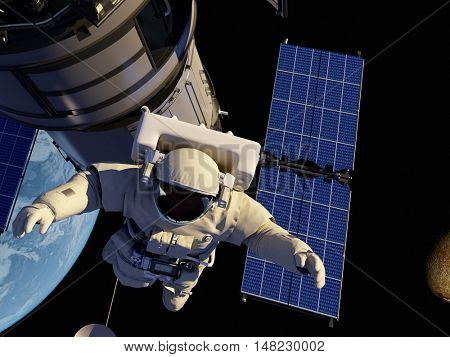 Astronaut and space station in Earth lanshafty background.