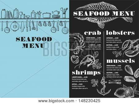 Seafood menu placemat food restaurant brochure template design. Vintage creative dinner flyer with hand-drawn graphic.