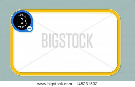 Yellow text frame for your text and bit coin symbol