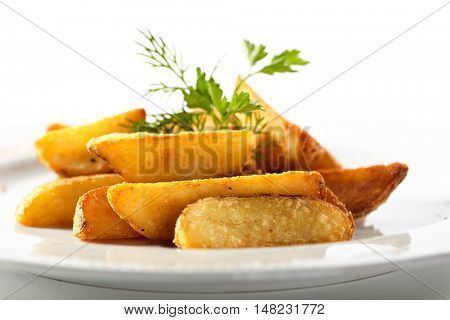 Roasted Potatoes Garnished with Parsley