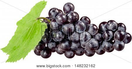 Red Grape Cluster With Leaf - Isolated
