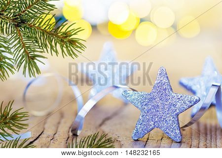 christmas background with stars and christmas decoration