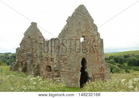 An exterior view of the old stable building at Crichton castle