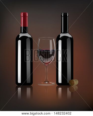 Vector realistic red wine bottles, wine cork and glass with mirror reflection on dark background.
