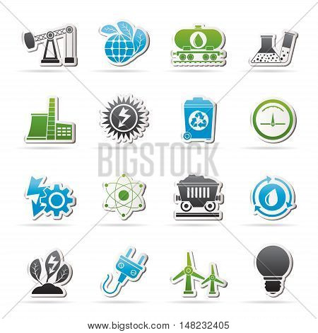 power and energy production icons - vector icon set