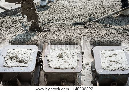 Double exposure mold of concrete for quality checking and activity of casting concrete.