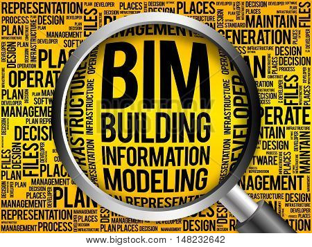 BIM - building information modeling word cloud with magnifying glass business concept