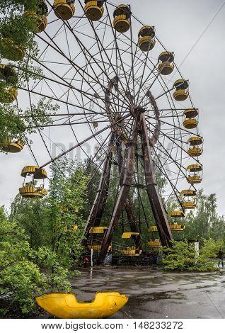 obsolete ferris wheel in abandoned Pripyat park, Chernobyl
