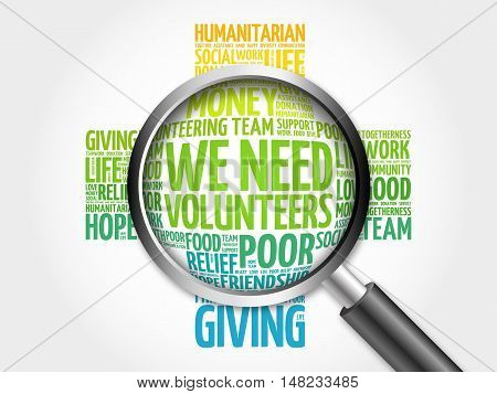 We Need Volunteers Word Cloud With Magnifying Glass, Cross Concept 3D Illustration