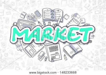 Business Illustration of Market. Doodle Green Inscription Hand Drawn Cartoon Design Elements. Market Concept.