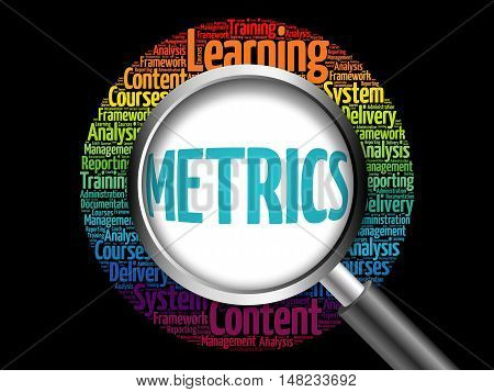 Metrics Word Cloud With Magnifying Glass