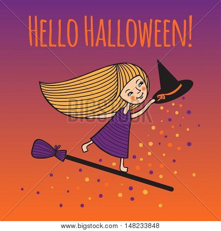 Happy Halloween. Cute girl in witch costume on broom. Colorful night sky. Romantic postcard for Halloween. Invitation to the feast. Vector illustration. Funny characters hand-drawn in cartoon style.