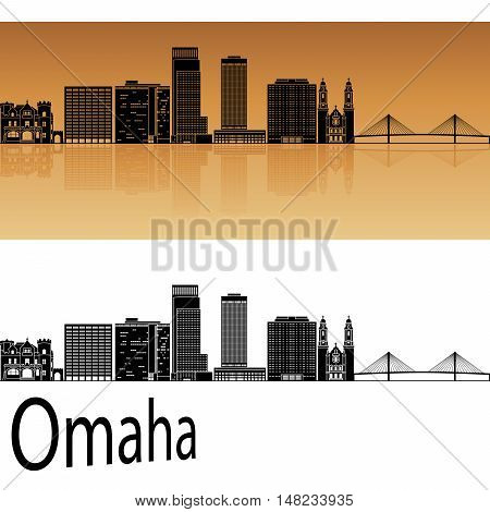 Omaha skyline in orange background in editable vector file