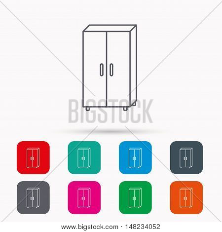 Cupboard icon. Wardrobe furniture sign. Linear icons in squares on white background. Flat web symbols. Vector