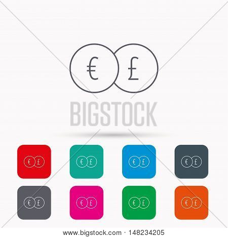 Currency exchange icon. Banking transfer sign. Euro to Pound symbol. Linear icons in squares on white background. Flat web symbols. Vector