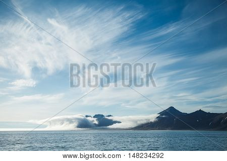 island between cloud in Arctic. on travel.