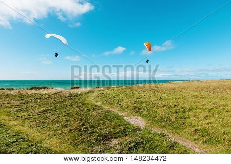 Paragliding on the deserted lawn, unspoiled nature