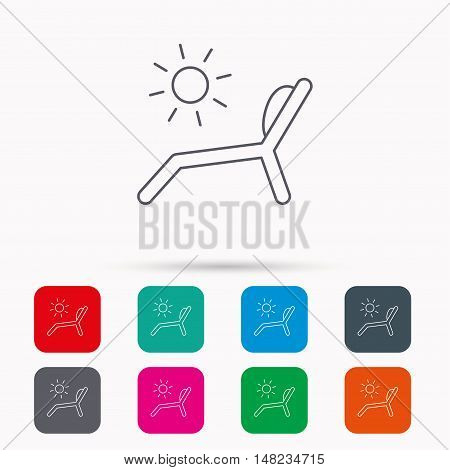 Deck chair icon. Beach chaise longue sign. Linear icons in squares on white background. Flat web symbols. Vector