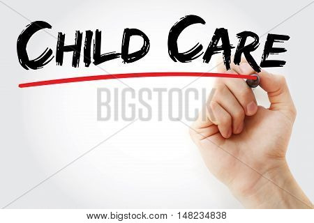 Hand Writing Child Care With Marker