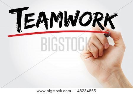 Hand Writing Teamwork With Marker