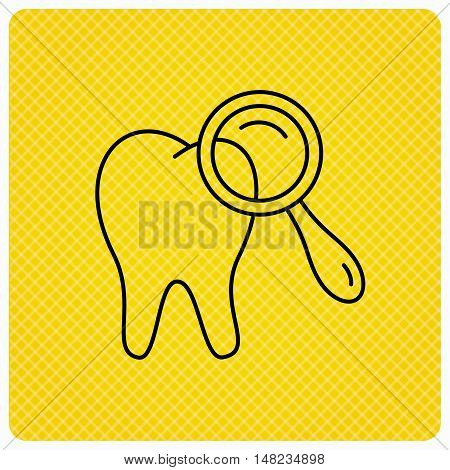 Dental diagnostic icon. Tooth hygiene sign. Linear icon on orange background. Vector