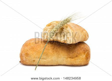 Ciabatta Italian bread isolated on white background