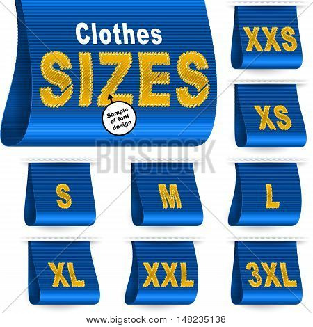 Clothes size labels with standard designation symbols of garment dimensions for customers - XXS XS S M L XL XXL XXXL; Font of symbols has design embroidered from threads; Blue vector set Eps10