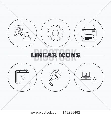 Video chat, printer and electric plug icons. Video conference linear sign. Flat cogwheel and calendar symbols. Linear icons in circle buttons. Vector