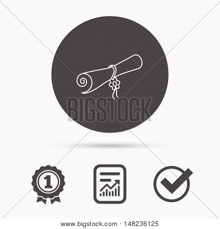 Diploma icon. Graduation document sign. Scroll symbol. Report document, winner award and tick. Round circle button with icon. Vector