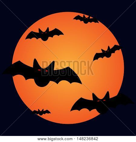 Bats and moon sign. Image of many black vampires with red eyes on full moon background. Symbol of dracula. VECTOR illustration