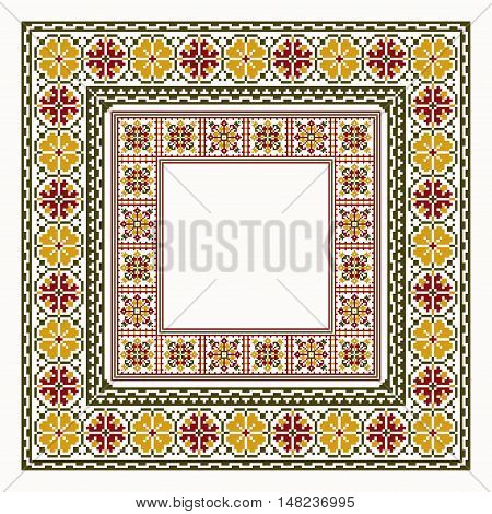 Cross stitch trendy embroidery collection borders vector illustration