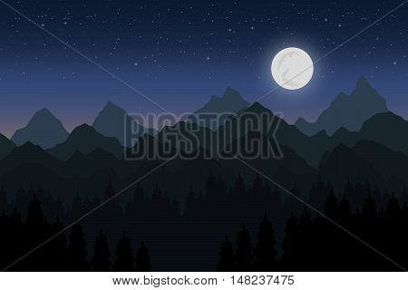 Vector illustration of mountain at night with moon
