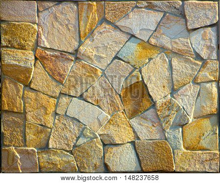 Old Ancient Wall Made From Stone.