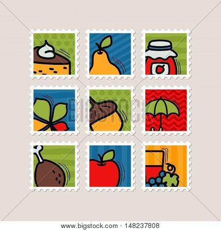 Thanksgiving Day stamp set. Harvest vector illustration eps 10