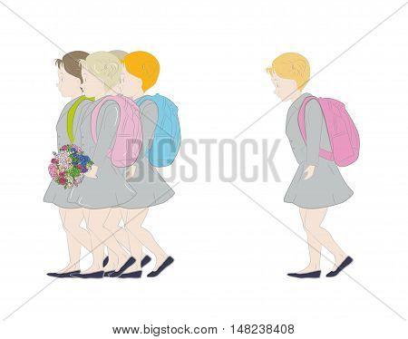 children go to school students. the beginning of their studies. vector illustration.