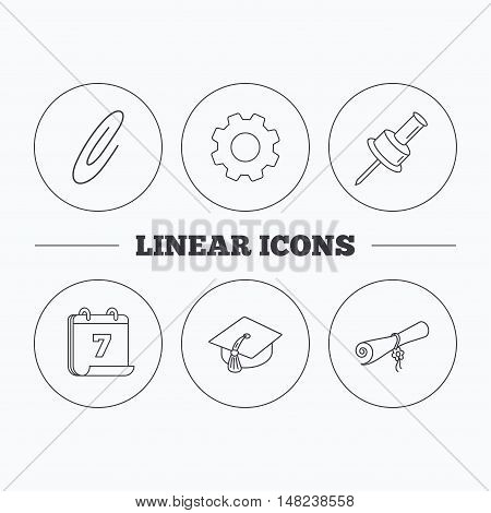 Graduation cap, pushpin and diploma icons. Safety pin linear sign. Flat cogwheel and calendar symbols. Linear icons in circle buttons. Vector
