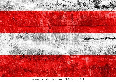 Flag Of Brno, Czechia, Painted On Dirty Wall